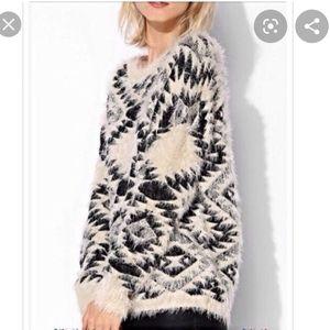 Dex   Fuzzy Axtec Print Sweater